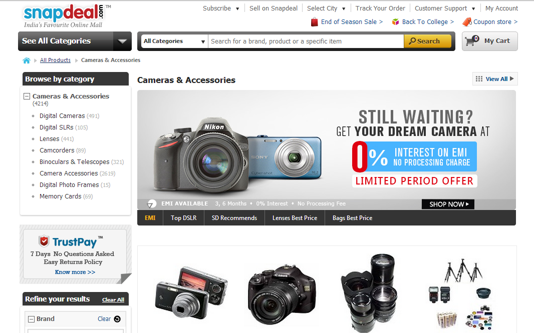 Snapdeal online shopping camera
